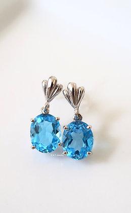 14K White Gold Oval 6.28 Carat Swiss Blue Topaz Dangle Earrings
