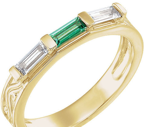 Any Color 14K Gold Baguette 1 to 4 Birthstone Ring