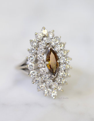 SALE! Marquise Cognac And White Diamond Ring