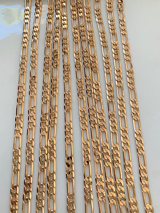 24 Inch Rose Gold Plated Figaro Chain