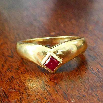 14K Ruby Chevron Ring