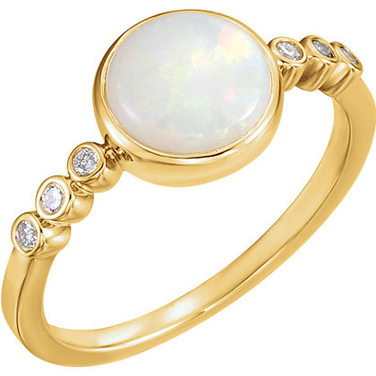 Any Color 14K Gold Bezel Set Opal And Diamond Ring