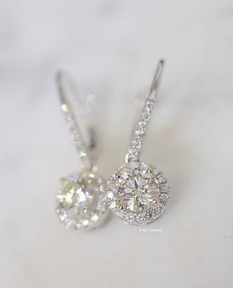 14K White Gold 1.10 Carat Diamond Halo Drop Earrings