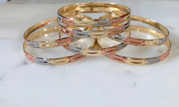 """Connect The Dots"" Tricolor Gold Plated 7 Bangle Set"