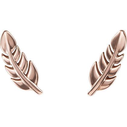 Any Color 14K Gold Leaf Stud Earrings