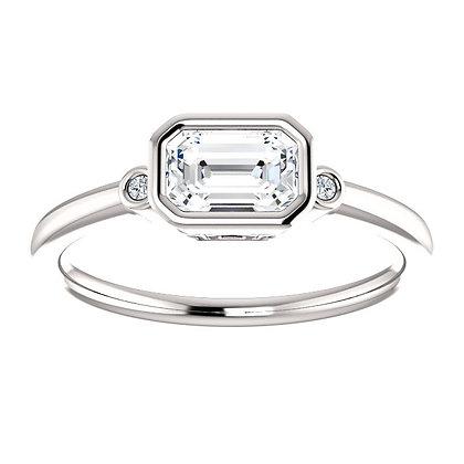 Any Color 14K White Gold Bezel Set Emerald Cut White Sapphire Ring
