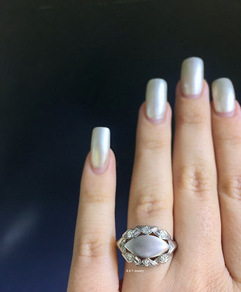 Vintage 14K White Gold Diamond Signet Ring- Optional Engraving & Birthstones