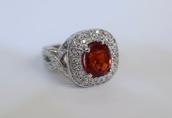 Reddish Orange Sapphire & Diamond Ring- Appraised