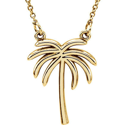 Any Color 14K Gold Palm Tree Necklace