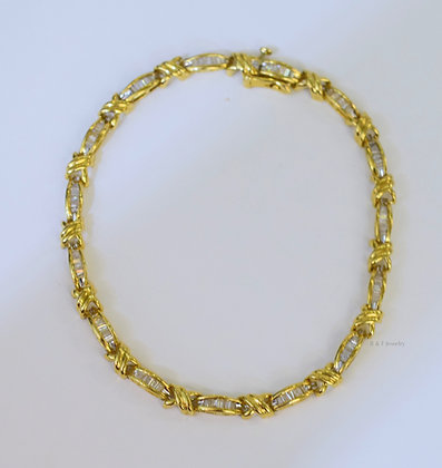14K Gold Baguette Diamond Bracelet