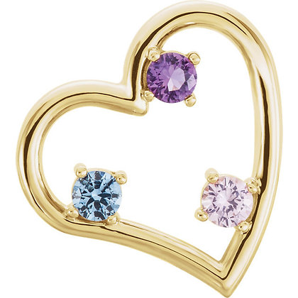 Any Color 14K Gold 1 to 6 Stone Heart Family Necklace