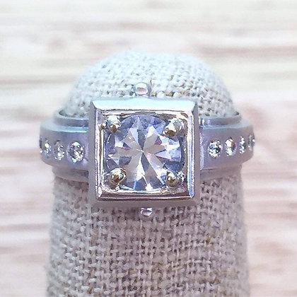 White Sapphire & Diamond Engagement Ring