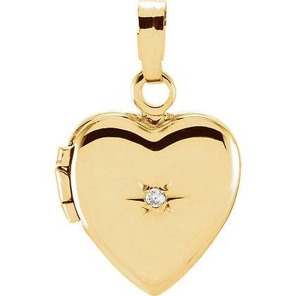14K Yellow Gold Vintage Style Diamond Heart Shape