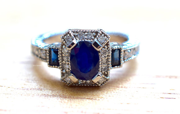 14K White Gold Vintage Sapphire And Diamond Ring