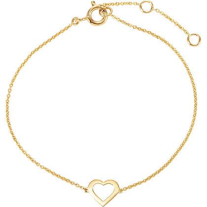 14K Yellow Heart Design Bracelet