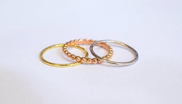 Multi-Color 14K Gold Stackable Set Of Bands