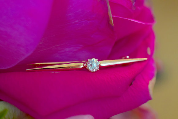 Antique 14K Rose Gold Diamond Bar Brooch