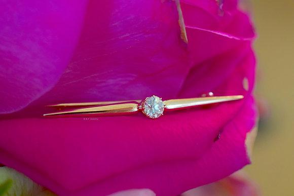 Antique 14K Rose Gold Diamond Bar Brooch