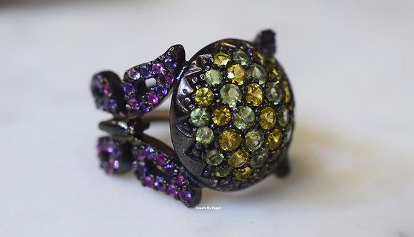 Blackened 14K White Gold Multi-Gemstone Butterfly Ring