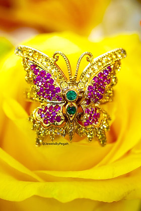 14K Gold Multi-Gemstone Butterfly Ring