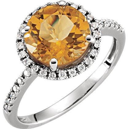Halo Style Round Citrine And Diamond Ring