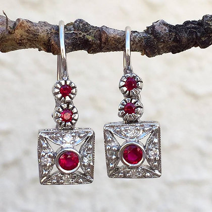 Vintage Style Diamond And Ruby Earrings