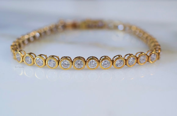 10K Yellow Gold C.Z Bezel Set Line Tennis Bracelet