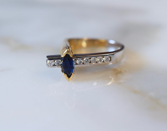 14K Bicolor Gold Marquise Sapphire And Diamond Ring