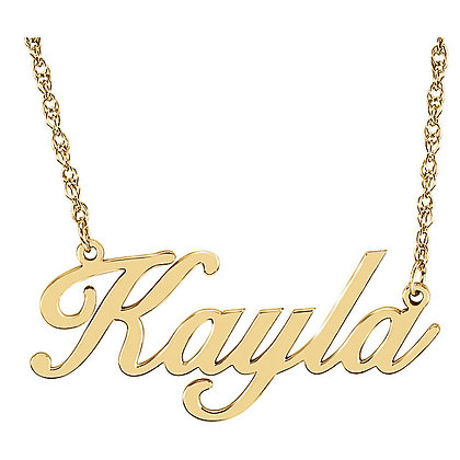 Any Color 14K Gold Name Plate Necklace- Has Matching Bracelet