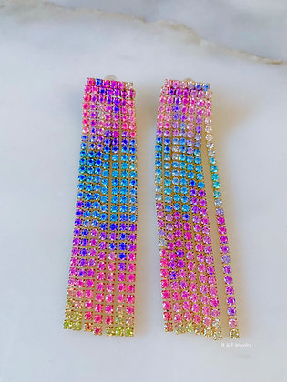 18K Gold Plated Sterling Silver Rainbow Crystal Fringe Chain Earrings