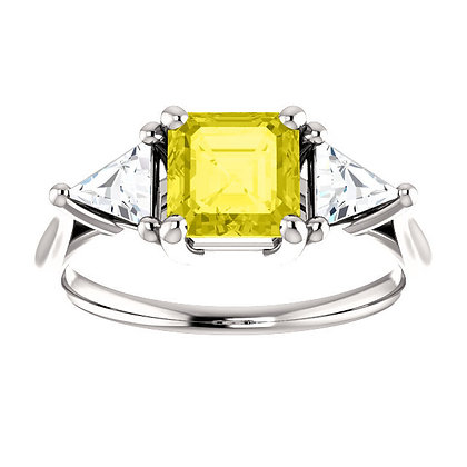 Any Color 14K Gold Asscher Cut Yellow Sapphire And Diamond Engagement Ring- Has