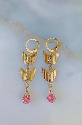 Gold Plated Butterfly Drop Earrings