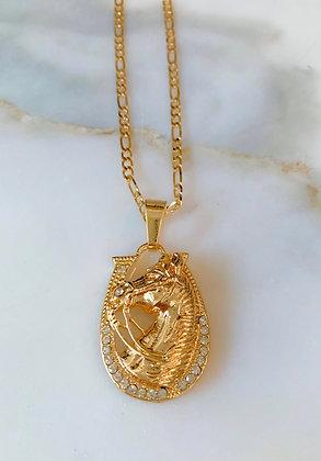 Large Gold Plated Horseshoe Necklace