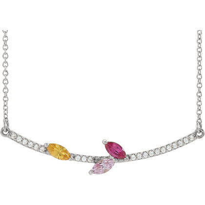 Any Color 14K Gold 1 to 5 Stone Marquise Bar Family Necklace