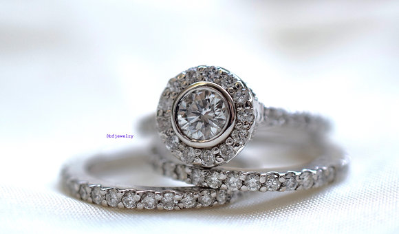 1.60 Carat Round Diamond Bridal Wedding Set