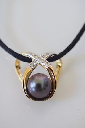 14K Gold Diamond And Grey pearl Pendant