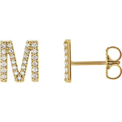Any Color 14K Gold Diamond Initial Earrings- Has Matching Necklace & Bracelet