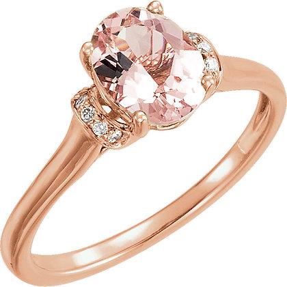 14K Rose Gold Oval Morganite & Diamond Ring