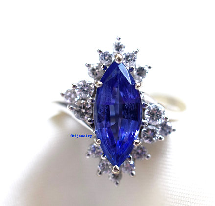 14K White Gold Marquise Tanzanite And Diamond Ring