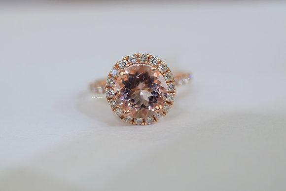 14K Rose Gold Halo Style Round Morganite And Diamond Ring