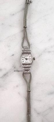 Vintage  Geneva 14K White Gold Diamond Watch