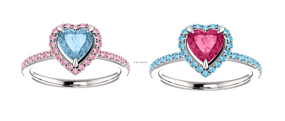 Any Color 14K Gold Pink And Blue Topaz Halo Heart Ring