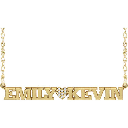 Any Color 14K Gold Diamond Heart Couples Name Plate Necklace