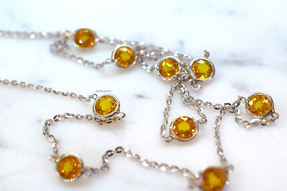 6.29 Carat Yellow Sapphire Station Necklace