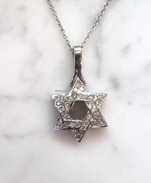 14k white gold diamond star of david necklace bf jewelry 14k white gold diamond star of david necklace aloadofball Images