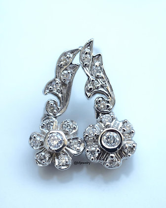 Vintage Style 14K White Gold Floral Diamond Earrings- Has Matching Necklace