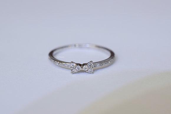 14K White Gold Petite Diamond Bow Ring