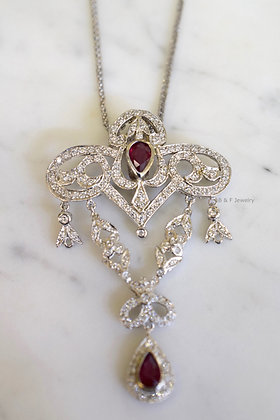 Vintage Style 14K White Gold Ruby And Diamond Necklace- Has Earrings