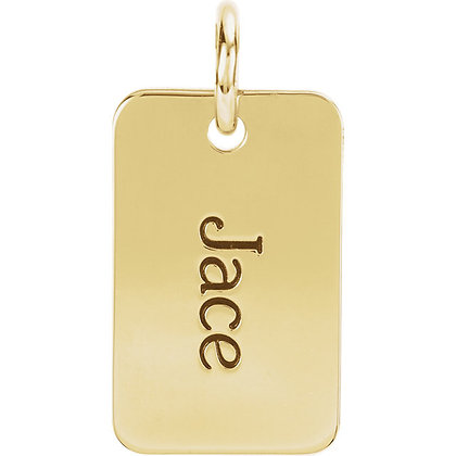 Any Color Gold Engravible Dog Tag Necklace- Stones Can Be Added