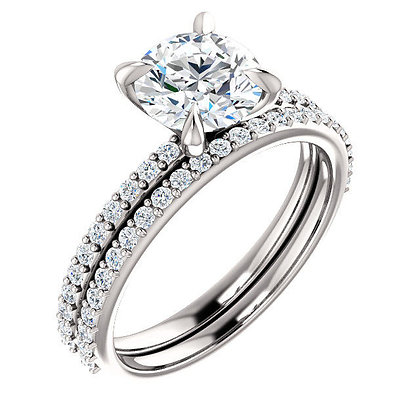 Any Color 14K Gold White Sapphire Bridal Set